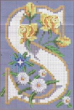 Step-by-Step Embroidery: Giant monogram with cross stitch flowers Cross Stitch Alphabet Patterns, Embroidery Alphabet, Cross Stitch Letters, Cross Stitch Love, Cross Stitch Flowers, Cross Stitch Charts, Cross Stitch Designs, Embroidery Patterns, Stitch Patterns