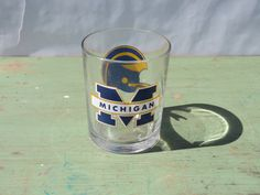 University of Michigan football glass tumbler by GiftedEnrichment on Etsy