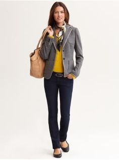 Women's Apparel: outfits we love | Banana Republic. Another variant of the skinny pant with blazer. This time is a button down sweater paired with matching scarf and a less fitted jacket. Notice that as the shape of the jacket relaxed so did the sweater, but the scarf got smaller and sleeker. it is all about balance!