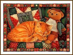Ginger and Friend © Lesley Anne Ivory Creation Photo, Cat Wall, Cat Drawing, Pretty Cats, Christmas Cats, Wildlife Art, Cute Illustration, Art Illustrations, I Love Cats
