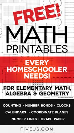 Free Math Worksheet Printables: Clocks, Graph Paper, Coordinate Planes, Number Lines, and More