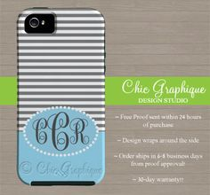 Personalized Cell Phone Case for iPhone 5 iPhone by ChicGraphique,