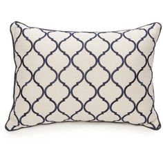Biltmore Natural Chateau Ogee Embroidered Oblong Decorative Pillow (54 CAD) ❤ liked on Polyvore featuring home, home decor, throw pillows, natural, inspirational home decor, navy blue toss pillows, inspirational throw pillows, oblong throw pillows and navy blue accent pillows