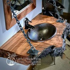 Another hanging style wood slab bathroom vanity built from a live edge wood slab. The gnarly live edge accents the highly figured wood grain pattern 10 Easy Rustic Bathroom ideas you can consider for your home decor Rustic Bathroom Lighting, Rustic Bathroom Designs, Rustic Bathroom Vanities, Rustic Bathrooms, Bathroom Furniture, Rustic Furniture, Diy Furniture, Bathroom Ideas, Rustic Lighting