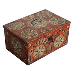 17th Century Paint Decorated Box