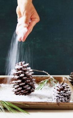 3 minute gorgeous DIY snow covered pine cones & branches in 3 ways! Easy pinecone craft for winter weddings, farmhouse, Thanksgiving, Christmas decorations! - A Piece of Rainbow gorgeous DIY snow covered pine cones & branches in 3 way Christmas Pine Cones, Diy Christmas Ornaments, Homemade Christmas, Rustic Christmas, Christmas Decorations Pinecones, Pinecone Ornaments, Christmas Crafts With Pinecones, Winter Christmas, Pinecone Wedding Decorations