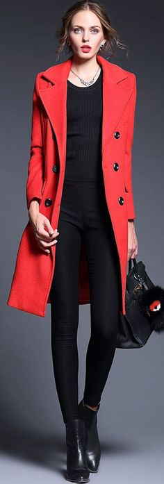 Red Double Breasted Wool-Blend Coat