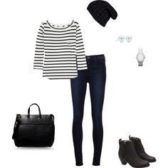 """""""Easy black and white"""" by vfriedman on Polyvore"""