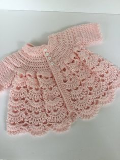 20 Ideas Knitting Patterns Baby Dress Etsy For 2019 Crochet Baby Sweaters, Crochet Baby Cardigan, Baby Girl Sweaters, Crochet Baby Clothes, Knitting Sweaters, Crochet Blouse, Beau Crochet, Pull Crochet, Bonnet Crochet