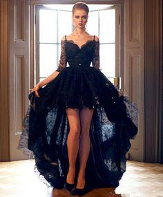 Hi-Lo Black Lace Dress 3/4 Sleeve Formal Dress