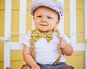 Vintage Yellow and Gray Bowtie and Suspender Set for newborn, toddler and boys