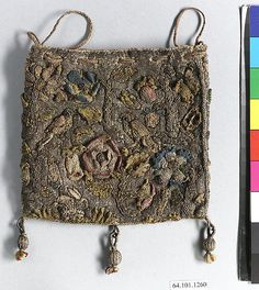 Purse Date: first quarter 17th century Culture: British Medium: Silk and metal thread on canvas Dimensions: H. 4 1/2 to 5 1/4 x W. 4 1/2 to 5 3/4 inches (11.4 to 13.3 x 11.4 to 14.6 cm) Classification: Textiles-Embroidered
