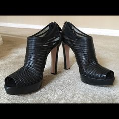 """Like new! PRADA so sexy peep toe shoe booties! 💖 Like new, PRADA black leather / mesh high heel, peep toe, platform booties! Made in Italy and marked size EU41 with approx 5"""" heels. Very stylish, super sexy and ultra chic in like new, gently worn condition. Please ask any questions prior to purchase. 🚫Trades. Reasonable offers only will be considered. Prada Shoes Ankle Boots & Booties"""