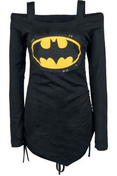 Stylish Long Sleeve Batman Printed Cut Out Lace-Up T-Shirt For Women b8b58b41f3