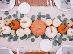 A peek at our Thanksgiving table over on galmeetsglam.com today + a giveaway to @shopterrain for two lucky winners! (Link in profile) #thanksgiving #tablescape #pumpkins #eucalyptus #falldecor