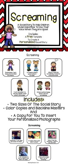 Personalized Social Story: Screaming - This is a great social story to help children learn how to use their voice when they are angry. This social story includes two different sizes, color copies, blackline masters, and a format to personalize for individual students. Teaching Social Skills, Social Emotional Learning, School Social Work, Social Stories, Coping Skills, Kids Learning, Teaching Kids, Early Learning, School Counseling