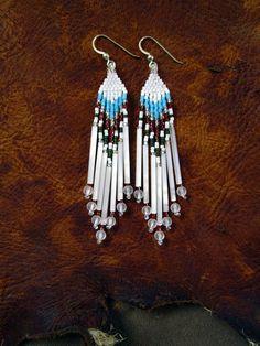 Winter White Cranberry Fest Hand Beaded Earrings by Elewmompittseh, #beadwork