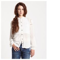 Free People White Everyday Girl Top Nothing conjures up femininity and romance than this delicate wisp of a top. Free People Tops