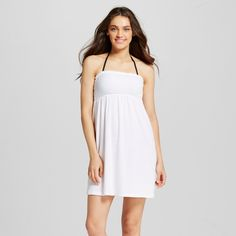 Women's Terry Smocked Strapless Cover Up Dress White L - Cover 2 Cover, Size: Large