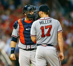 Atlanta Braves catcher A.J. Pierzynski, left, visits the mound to talk to starting pitcher Shelby Miller during the eighth inning of a baseball game against the St. Louis Cardinals, Saturday, July 25, 2015, in St. Louis. The Cardinals won the game 1-0. Photo: Billy Hurst, AP