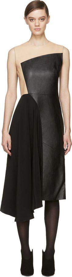 3.1 Phillip Lim Black Silk & Leather Paneled Horizon Dress
