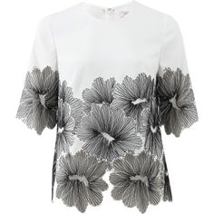 LELA ROSE Floral Lace Blouse found on Polyvore