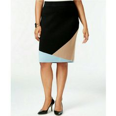 Alfani Plus Size Colorblocked Pull-On Pencil Skirt Alfani Plus Size Colorblocked Pull-On Pencil Skirt, This colorblocked plus size knit pencil skirt by Alfani is a chic wardrobe-builder. Pair it with an elegant blouse and pumps for an easy, polished look.  Viscose/nylon Machine washable Imported Pull-on styling; hidden elastic at waist Colorblocked detail at hem Pencil silhouette Hits at knee Alfani Skirts