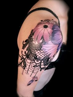lace lotus flower tattoo