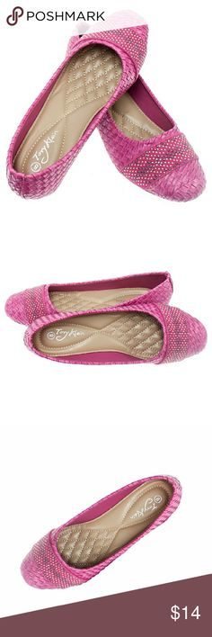 Tory K Studded Ballerina Flats,  b-1400W, Fuchsia Brand new Tory Klein woven wedge flats with a studded ribbon in the front. Unique design. Soft cushioned sole, very comfortable wedge, true to size. Decorated bottom sole. Tory Klein  Shoes Flats & Loafers