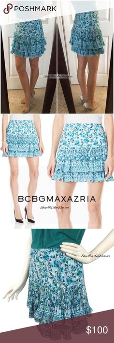 BCBG Max Azria NWT pleated tiered ruffle skirt Gorgeous NWT BCBG Max Azria turquoise/aqua tiered ruffle mini skirt with floral print. Has great flirty movement. Retailed at $218 and sold out. Selling over 50% off, price firm. Shirt not for sale. Please read my bio regarding closet policies prior to any inquires. BCBGMaxAzria Skirts Mini