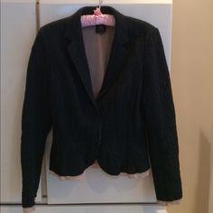 Tree Blazer Tree Blazer Boutique. size M Will fit 4-8.. Lightweight jacket with pinkish beige trim. 40%wool.30 % poly 25%cotton 5%alpaca/ lining 100% silk.  2 snap buttons .Great quality. Tree Jackets & Coats Blazers