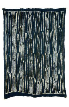Africa | Ndop Ceremonial Textile from the Bamun people of Cameroon | First half of 20th century | Resist dyed strip woven local cotton (ndop); indigo dye