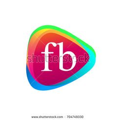Letter FB logo in triangle shape and colorful background, letter combination logo design for company identity.