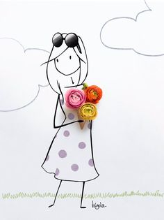 Flower Words, Flower Art, Art Floral, Vincent Bal, Illustrator, Arte Fashion, Creative Artwork, Cartoon Pics, Cute Illustration