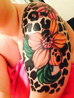 leopard print flower tattoo - Google Search