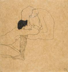Lovers 1909 Egon Schiele