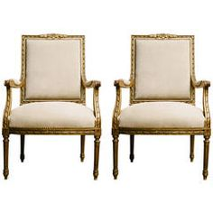 Pair of 19th Century Louis XVI Style Gilt Fauteuils