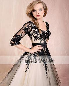 Elegant Half Sleeve Appliques Lace Prom Dresses 2017 Slim Cut Tea-Length Tulle Evening Party Dress Custom Made Vestido De Gala