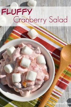 The perfect fall side dish or dessert, this Fluffy Cranberry Salad combines seasonal fruits and festive marshmallows for an easy recipe that your friends and family will love! Light Desserts, Easy Desserts, Delicious Desserts, Yummy Food, Yummy Recipes, Recipies, Cranberry Fluff, Cranberry Salad, Thanksgiving Recipes