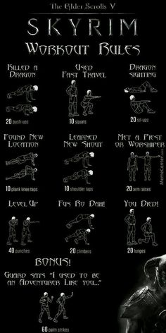 Meme Center – Largest Creative Humor Community The Dovahkiin Workout, how to get ripped playing Skyrim. Workout List, Gym Workout Tips, At Home Workouts, Parkour Workout, Pop Workouts, Skyrim Game, Skyrim Funny, Superhero Workout, Elder Scrolls Skyrim