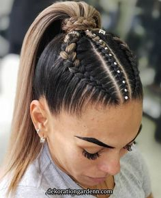 90 easy hairstyles for naturally curly hair - Hairstyles Trends Cool Braid Hairstyles, Easy Hairstyles For Long Hair, Baddie Hairstyles, Braids For Long Hair, Athletic Hairstyles, High Ponytail With Braid, Cheer Hairstyles, Wedding Hairstyles, Braid Ponytail