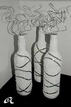 Diy Decor : DIY Sparkly painted wine bottles maybe cut the bottom off and put lighting in Candle etc...