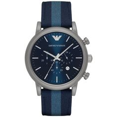 Emporio Armani Round Stainless Steel Nylon Strap Watch (16.960 RUB) ❤ liked on Polyvore featuring men's fashion, men's jewelry, men's watches, apparel & accessories, blue, emporio armani mens watches, mens blue watches, mens stainless steel watches and mens leather strap watches