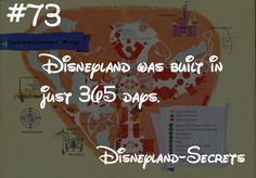 Disneyland was built in just 365 days. This is an amazing feet considering they built a castle, dug a river, built an entire mid century street, and a jungle full of animals. Compare this 365 days to. Disney World Facts, Disney Fun Facts, Disney Jokes, Disney World Trip, Disney Trivia, Disney Land, Disneyland Secrets, Disney Secrets, Disney Tips