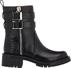 Givenchy Double-Zip Moto Boots-Black