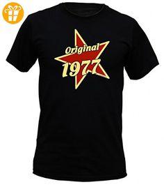 Jahrgang Shirt - Original 1977 auf Stern - bedrucktes T-Shirt mit lustigem Motiv als Geschenk zum Geburtstag in Schwarz, Größe:5XL (*Partner-Link)
