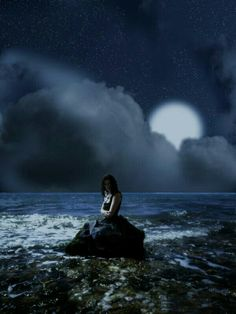My first attempt at photo manipulation Moonlight Dark Gothic Art, Gothic Fantasy Art, Beautiful Fantasy Art, Dark Art, Beautiful Moon, Water Pictures, Dark Pictures, Aesthetic Photography Nature, Artistic Photography