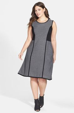 131729af4f Calvin Klein Stripe Fit  amp  Flare Sweater Dress (Plus Size) available at