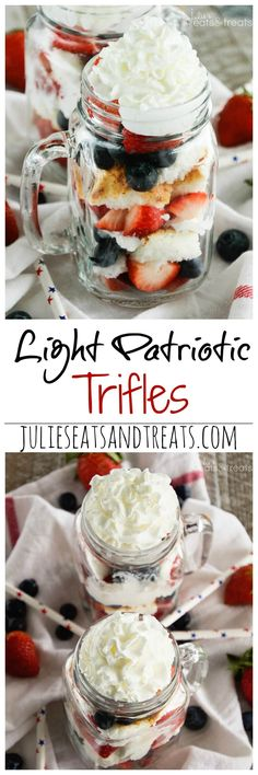 Light Patriotic Trifles ~ Delicious, Light Dessert Recipe to Feed You Sweet Tooth! Layers of Angel Food Cake, Strawberries, Blueberries and Whipped Topping! ~ http://www.julieseatsandtreats.com