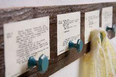cute catalog cards behind hooks